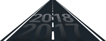 New year. Concept of new year 2018 on the road stock illustration