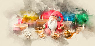 New Year concept. Santa Claus, Christmas decorations and candles. Watercolor background Stock Photos