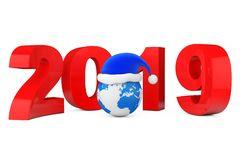 2019 New Year Concept. Santa Hat over Earth Globe. 3d Rendering. 2019 New Year Concept. Santa Hat over Earth Globe on a white background. 3d Rendering stock illustration