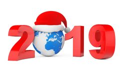 2019 New Year Concept. Santa Hat over Earth Globe. 3d Rendering. 2019 New Year Concept. Santa Hat over Earth Globe on a white background. 3d Rendering royalty free illustration