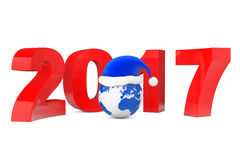 2017 New Year Concept. Santa Hat over Earth Globe. 3d Rendering. 2017 New Year Concept. Santa Hat over Earth Globe on a white background. 3d Rendering Stock Illustration