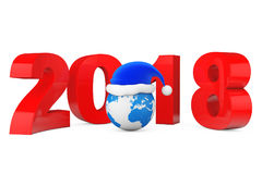 2018 New Year Concept. Santa Hat over Earth Globe. 3d Rendering. 2018 New Year Concept. Santa Hat over Earth Globe on a white background. 3d Rendering Royalty Free Stock Photos