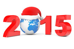 2015 New Year Concept. Santa Hat over Earth Globe. On a white background Stock Illustration