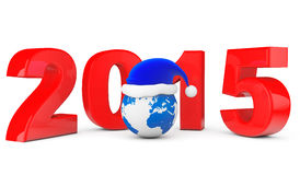 2015 New Year Concept. Santa Hat over Earth Globe Royalty Free Stock Images