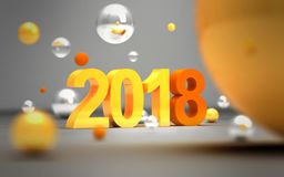 New year concept. 2018 sign near flying colorful balls. 3D illus. New year concept. 2018 sign near flying colorful balls on grey background. 3D illustration Stock Images