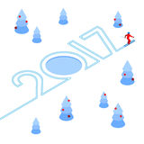New Year 2017 concept - skier write numbers in the snow Stock Images