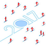 New Year 2017 concept - skier write numbers in the snow Royalty Free Stock Image