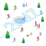 New Year 2017 concept - skier write numbers in the snow. Lot of colorful people have fun - skate, skiing, sledding. Vector image clip art. Isometric 3D on Royalty Free Illustration