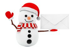 New Year Concept. Snowman with Blank White Envelope. 3d Renderin Stock Image