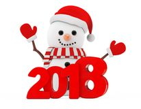 New Year Concept. Snowman with Christmas New 2018 Year Sign. 3d Stock Photography