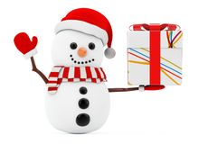 New Year Concept. Snowman with Christmas Stripped White Gift Box. With Red Bow on a white background. 3d Rendering Stock Photography