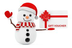 New Year Concept. Snowman with Gift Voucher Card. 3d Rendering. New Year Concept. Snowman with Gift Voucher Card on a white background. 3d Rendering Stock Photography