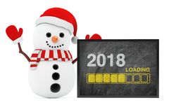 New Year Concept. Snowman near Chalkboard with Progress Bar Show. Ing Loading of 2018 New Year on a white background. 3d Rendering Royalty Free Stock Images