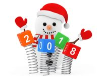 New Year Concept. Snowman near Christmas Spring Cubes with 2018 Stock Images