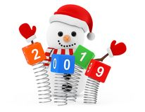 New Year Concept. Snowman near Christmas Spring Cubes with 2019. New Year Sign on a white background. 3d Rendering royalty free illustration