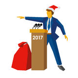 New Year 2017 concept - speaker at podium in Santa hat. Man standing at rostrum, big gift bag near. Annual press conference or presentation. Flat vector Stock Image