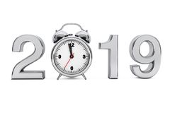 New Year 2019 concept. 2019 Steel Sign with Alarm Clock. 3d Rend. New Year 2019 concept. 2019 Steel Sign with Alarm Clock on a white background. 3d Rendering royalty free illustration