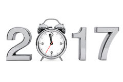 New Year 2017 concept. 2017 Steel Sign with Alarm Clock. 3d Rend. New Year 2017 concept. 2017 Steel Sign with Alarm Clock on a white background. 3d Rendering Stock Images