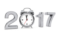 New Year 2017 concept. 2017 Steel Sign with Alarm Clock. 3d Rend. New Year 2017 concept. 2017 Steel Sign with Alarm Clock on a white background. 3d Rendering Stock Photo