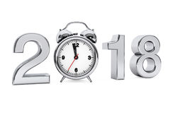 New Year 2018 concept. 2018 Steel Sign with Alarm Clock. 3d Rend. New Year 2018 concept. 2018 Steel Sign with Alarm Clock on a white background. 3d Rendering Stock Image