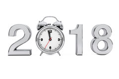 New Year 2018 concept. 2018 Steel Sign with Alarm Clock. 3d Rend. New Year 2018 concept. 2018 Steel Sign with Alarm Clock on a white background. 3d Rendering Stock Photo