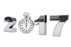 New year 2017 concept. 2017 steel sign with stopwatch. 3d Render Royalty Free Stock Photo