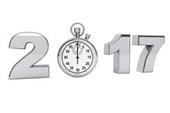 New year 2017 concept. 2017 steel sign with stopwatch. 3d Render Royalty Free Stock Photos