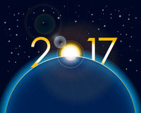 New Year concept - sunrise with digits 2017. New Year concept - sunrise on Earth with digits 2017 with lens flare Stock Images