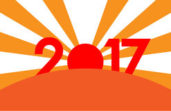 New Year concept - sunrise with digits 2017. New Year concept - red and orange sunrise with digits 2017. Vector clip art Royalty Free Stock Image