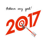 New Year 2017 concept. Target with dart instead of zero. New Year 2017 business concept. Target with dart instead of zero - symbol of success, achievements Stock Photos