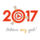 New Year 2017 concept. Target with darts instead of zero. New Year 2017 business concept. Target with three darts instead of zero - symbol of success Royalty Free Stock Photography