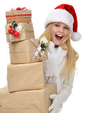New year 2016 concept teenage girl with Christmas presents gift Stock Photography