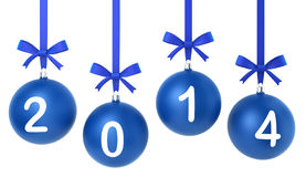 2014 new year concept. Toys hanging on nice bows. 3d illustration on white background Stock Image