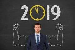 New year concepts 2019 countdown clock on chalkboard background. New year concepts stock photos