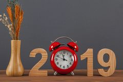 New year concepts 2019 countdown clock with red clock. New year concepts royalty free stock photo