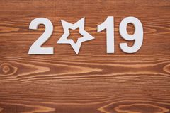New year concepts 2019 countdown clock with star shape. New year concepts royalty free stock photos