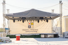 New Year concert platform in winter Pomorie, Bulgaria Stock Photo