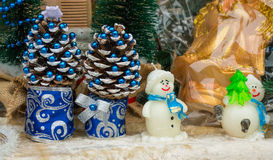 New Year cone and snowmen Stock Photo