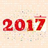 New Year, confetti, 2017, calendar sheet, beige banner, greeting card royalty free illustration
