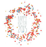 New year 2015 confetti celebration. Happy new Year eve celebration 2015 with colorful confetti template background. Ideal for greeting card, print poster and Royalty Free Illustration