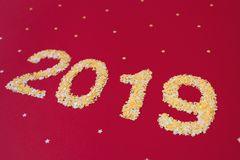New 2019 year of confetti. royalty free stock photo