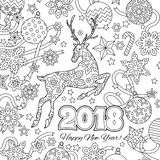 New year congratulation card with numbers 2018, deer and festive objects. Zentangle inspired style. Zen colorful graphic Royalty Free Stock Image