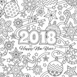 New year congratulation card with numbers 2018 and festive objects. Zentangle inspired style. Zen colorful graphic. Image for calendar, coloring book. Editable Royalty Free Stock Photos