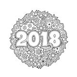 New year congratulation card with numbers 2018 on winter holiday background. Christmas mandala. Antistress coloring book Royalty Free Stock Photos
