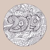 New year congratulation card with numbers 2019 in zentangle inspired style. Christmas mandala. Zen monochrome graphic royalty free illustration