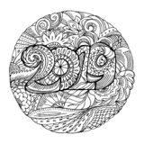 New year congratulation card with numbers 2019 in zentangle inspired style. Christmas mandala. Zen monochrome graphic stock illustration