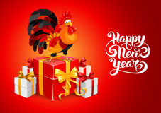 New Year congratulation. Cute cheerful cartoon rooster, symbol 2017 year by eastern calendar with a many gifts. Christmas and New Year Greeting card design Stock Image