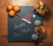 New 2017 Year. Congratulations on black stone  of happy new 2017 year Stock Photography