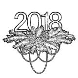 2018 New Year coniferous design. Vector holiday card. Coloring book page design for adults and kids Stock Image