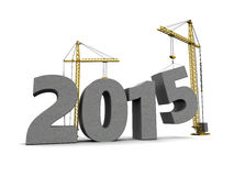 New year construction. 3d illustration of 2015 year sign construction with crane Royalty Free Stock Image